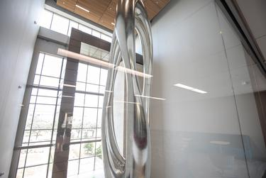 The Inigo Ovalle art installation at the Zachry Engineering Education Complex building at Texas A&M University.