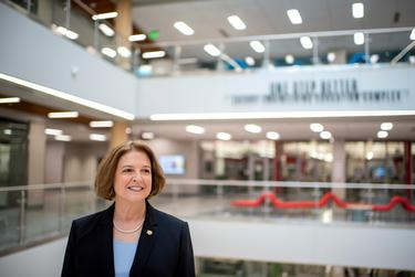 Texas A&M University President M. Katherine Banks at the Zachry Engineering Education Complex in College Station on March 30, 2021.