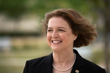 Texas A&M University President M. Katherine Banks poses for a portrait outside of the Zachry Engineering Education Complex on March 30, 2021, in College Station.