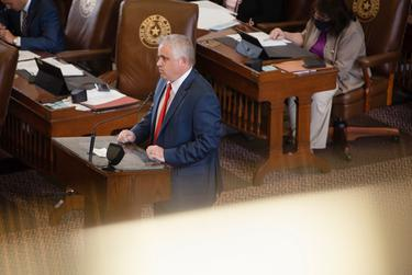 State Rep. Bryan Slaton, R-Royse City, on the House floor during a session at the state Capitol on April 26, 2021.