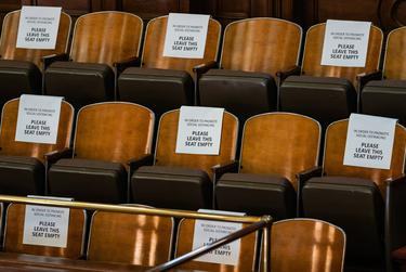 Signs adorn every seat in the House Gallery to ensure social distancing in the house chamber. Jan 4, 2020.