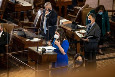 State Rep. Erin Zwiener, D-Driftwood, questions a proposed amendment to HB 10 on March 30, 2021.