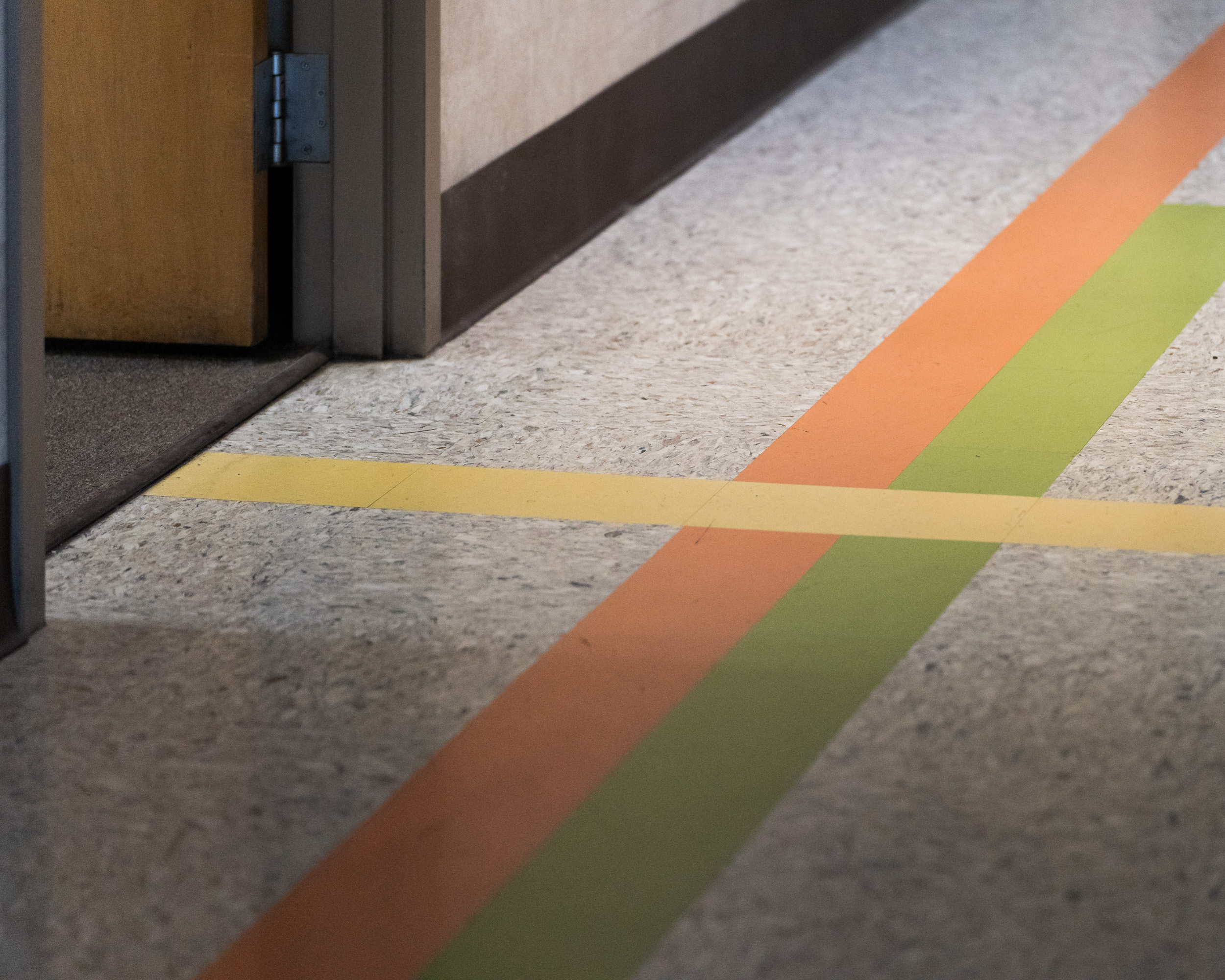 Colored stripes leading to offices