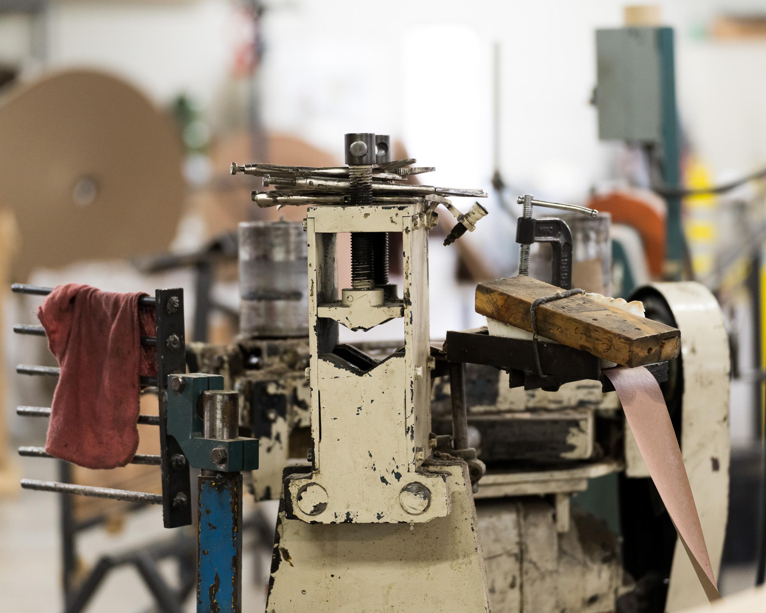 A complex machine inside a warehouse
