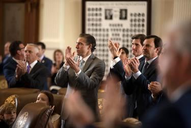 House members clap in honor of staff that helped during the 87th Legislative session on Sine Die. May 31, 2021.